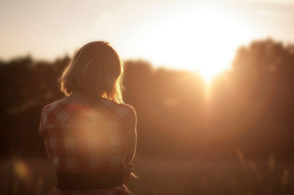 woman person sunset